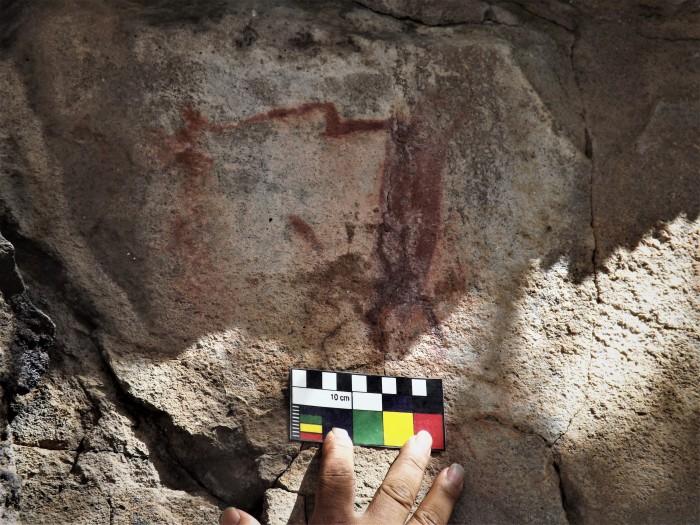 Pintura rupestre antropomorfa. El Dominguejo. Foto Carlos Alberto Torreblanca. INAH.